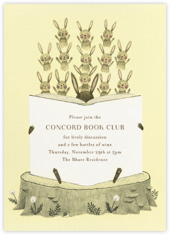 Bunny Bibliophiles - Paperless Post - Book club invitations