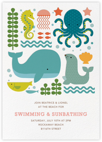 Ocean Parade (Inset) - Petit Collage - Beach Party Invitations