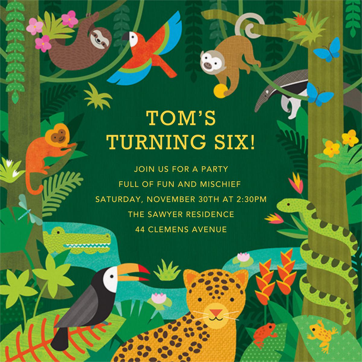 Jungle Jamboree - Petit Collage - Kids' birthday invitations