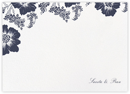 Falling Poppies II (Stationery) - White/Navy - Oscar de la Renta - Personalized Stationery