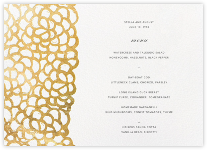 Gardenia (Menu) - Oscar de la Renta - Wedding menus and programs - available in paper