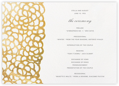Gardenia (Program) - Oscar de la Renta - Wedding menus and programs - available in paper