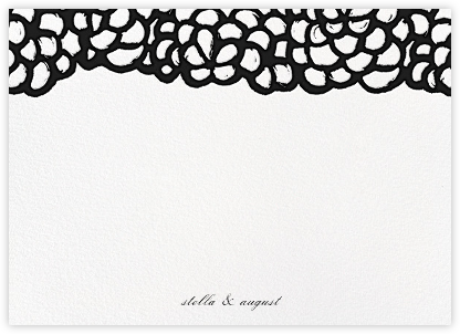 Gardenia (Stationery) - Black - Oscar de la Renta - Personalized Stationery