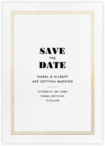 Triple Interior Border (Save the Date) - Gold - Paperless Post - Save the dates