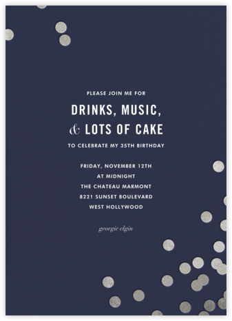 Confetti (Tall) - Navy/Silver - kate spade new york - Adult Birthday Invitations