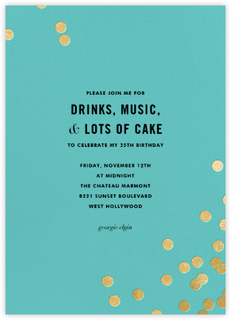Confetti (Tall) - Aqua/Gold - kate spade new york - Adult Birthday Invitations
