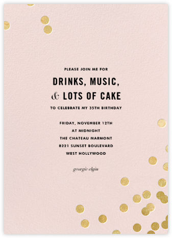 Confetti (Tall) - Blush/Gold - kate spade new york - Adult Birthday Invitations