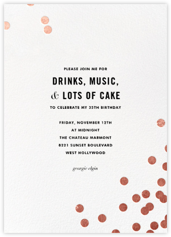Confetti (Tall) - White/Rose Gold - kate spade new york - Adult Birthday Invitations