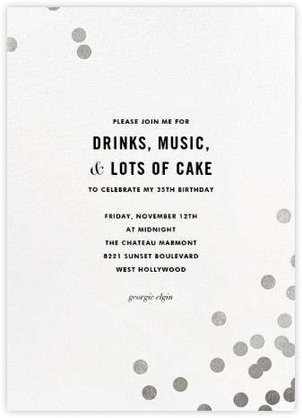 Confetti (Tall) - White/Silver - kate spade new york - Adult Birthday Invitations