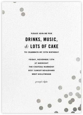 Confetti (Tall) - White/Silver - kate spade new york - Adult Birthday Invitations