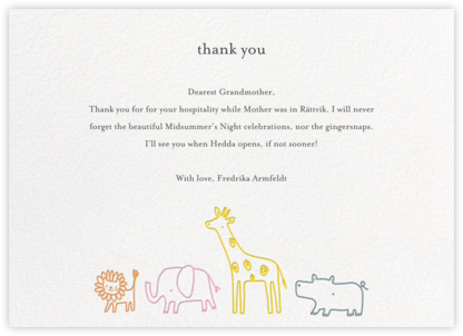 Jungle March - Little Cube - Kids' thank you notes