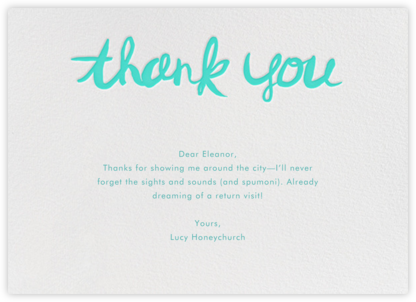 Brushed Thank You - Persian Green - Linda and Harriett - Online Cards