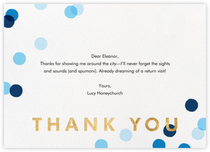 Carnaby Thanks - Blue/Gold - Paperless Post - Kids' thank you notes