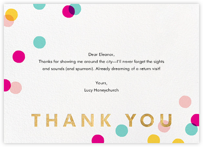 Carnaby Thanks - Multi/Gold - Paperless Post - Online thank you notes