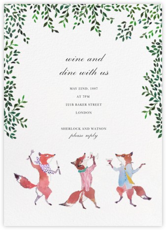 Friendly Foxes - Happy Menocal - Dinner Party Invitations