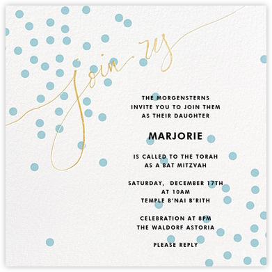 Join Us (Dots) - Blue/Gold - Linda and Harriett - Bar mitzvah and bat mitzvah invitations