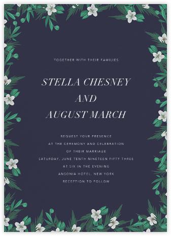 Snowrose Hedge (Invitation) - Navy - Paperless Post - Wedding Invitations