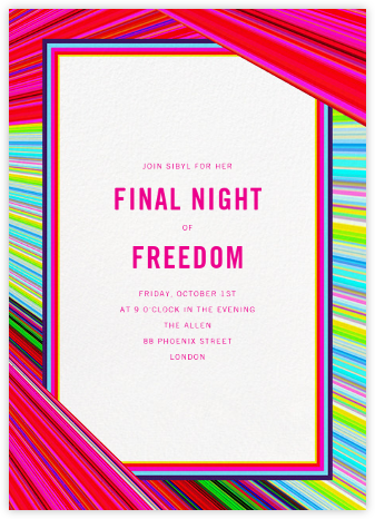 Rainbow Stripe - Mary Katrantzou - Bachelorette Party Invitations