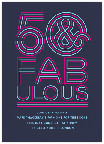 Neon Capitals (Fifty) - Paperless Post - Adult Birthday Invitations