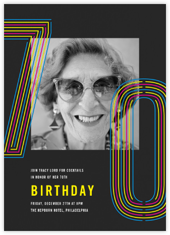 Neon Decades (Seventy) - Paperless Post - Milestone birthday invitations