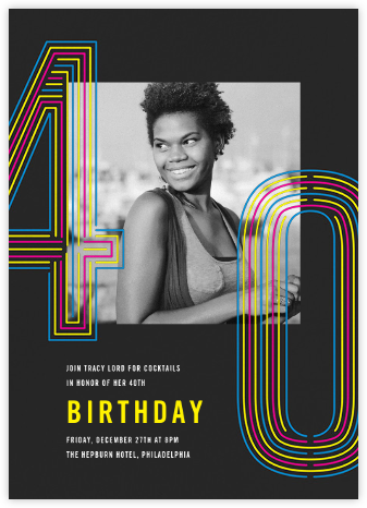 Neon Decades (Forty) - Paperless Post - Adult birthday invitations