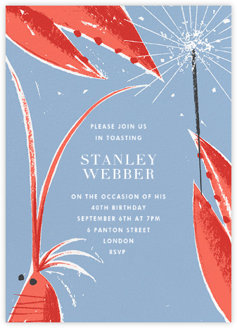 Shrimp and Sparklers - Paperless Post - Adult Birthday Invitations