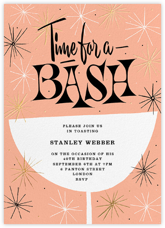 Sparkling and Swinging - Sherbet - Paperless Post - Adult Birthday Invitations