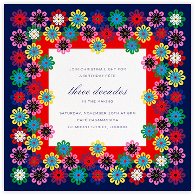 Flower Rainbow - Mary Katrantzou - Adult Birthday Invitations