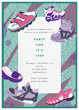 Get Your 90's Kicks - Paperless Post - Adult Birthday Invitations