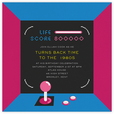 All Time Hi-Score - Paperless Post - Adult Birthday Invitations