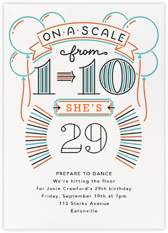 Your Age in Lights - Paperless Post - Milestone birthday invitations