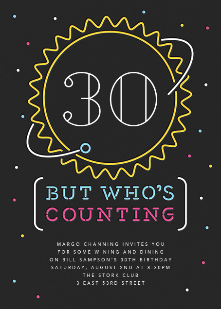 Space Age Neon - Paperless Post - Adult birthday invitations
