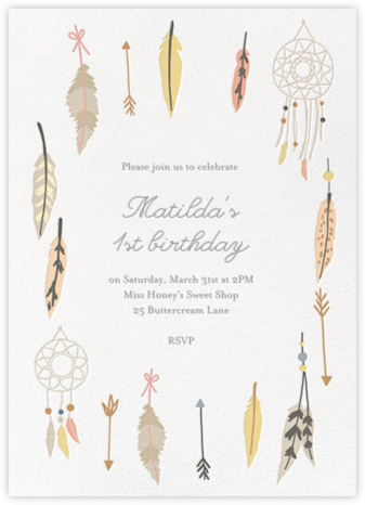 Dreamcatcher - Little Cube - First birthday and baby birthday invitations