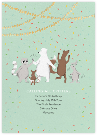 Furfetti - Mint - Paperless Post - Online Kids' Birthday Invitations