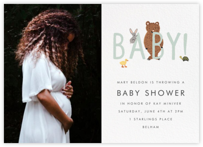 Bunny, Bear, and Baby (Photo) - Mint - Rifle Paper Co. - Online Party Invitations