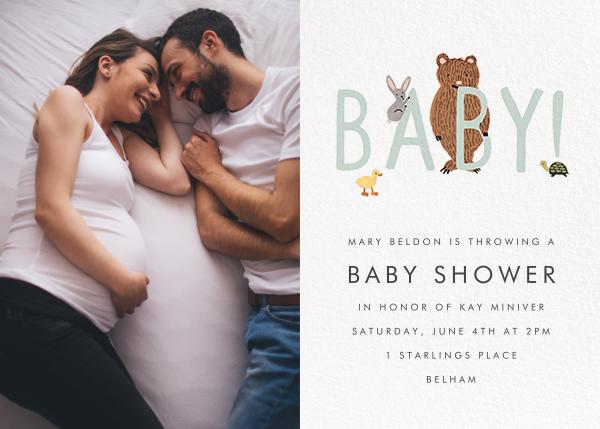 Bunny, Bear, and Baby (Photo) - Mint - Rifle Paper Co. - Celebration invitations