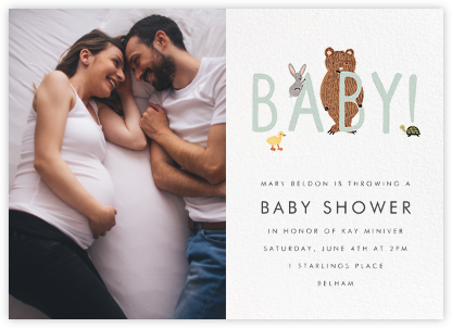 Bunny, Bear, and Baby (Photo) - Mint - Rifle Paper Co. - Online Baby Shower Invitations