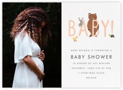 Bunny, Bear, and Baby (Photo) - Peach - Rifle Paper Co. - Woodland Baby Shower Invitations