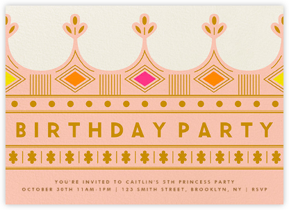 Crown - Pink - The Indigo Bunting - Online Kids' Birthday Invitations