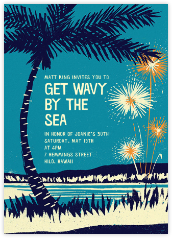 Seaside Fireworks - Paperless Post - Adult Birthday Invitations