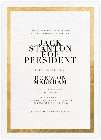 Editorial II - White/Gold - Paperless Post - Fundraiser Invitations