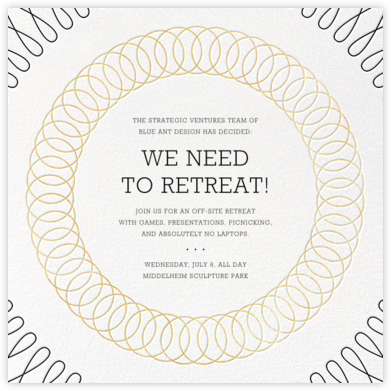 Spirals (Square) - Gold - Paperless Post - Casual Party Invitations