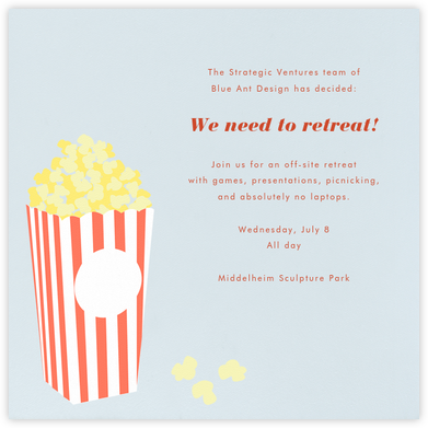 Bucket of Popcorn - Blue - Paperless Post - Casual Party Invitations