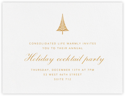 Bethlehem Conifer - Gold - Paperless Post - Business Party Invitations