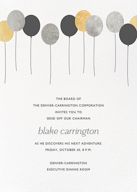 Balloons - Metallic - Paperless Post - Retirement invitations, farewell invitations