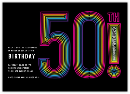 Neon Exclamation Surprise (Fifty) - Paperless Post - 50th Birthday Invitations