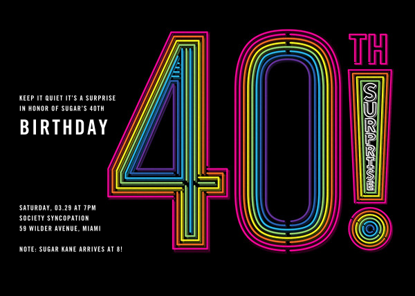 Neon Exclamation Surprise (Forty) - Paperless Post - Adult birthday invitations