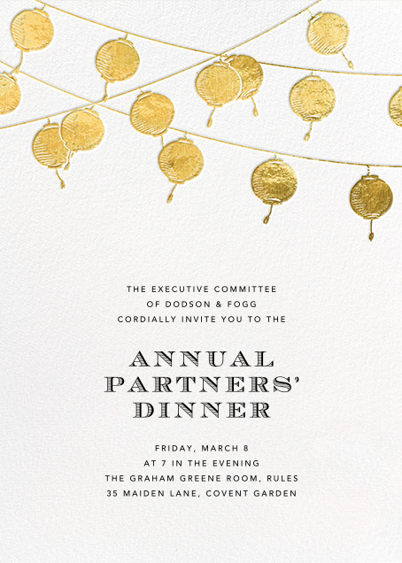 Lanterns - Gold - Paperless Post - Retirement invitations, farewell invitations