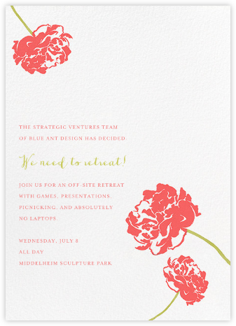 Carnation (Tall) - Coral/Chartreuse - Paperless Post - Casual Party Invitations