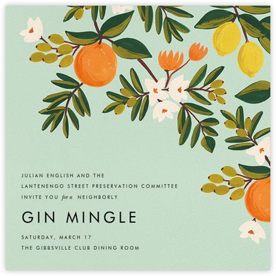Citrus Orchard - Mint - Rifle Paper Co. - Casual Party Invitations